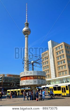 The World Clock and TV Tower in Berlin, Germany.
