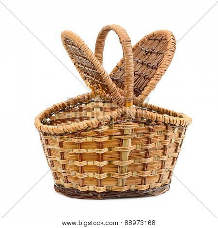 wicker basket with lid isolated on white