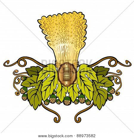 Beer Label with Hop mug and sheaf