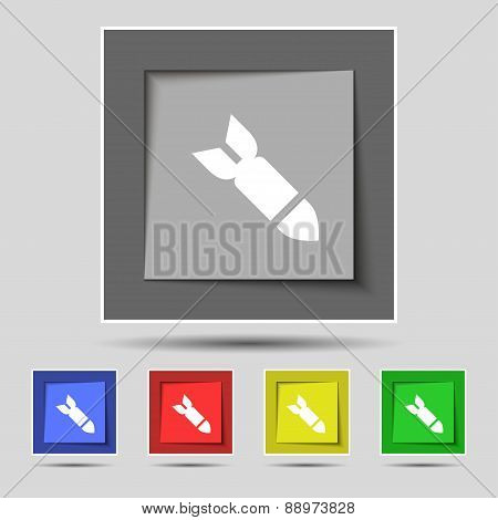 Missile,rocket Weapon Icon Sign On The Original Five Colored Buttons. Vector