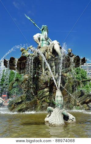 Neptune Fountain In Berlin, Germany.
