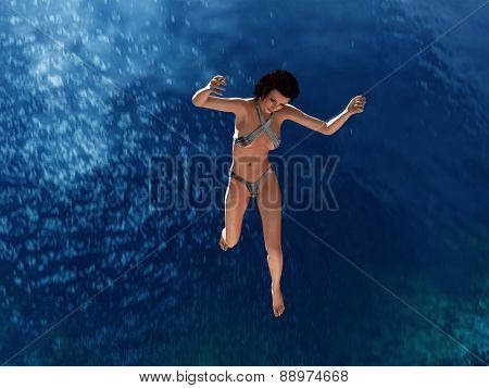 woman jumping in the sea