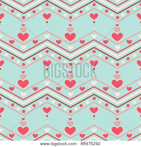 Chevron pattern with hearts