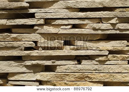 Tiles From Sandstone Close Up. Horizontal