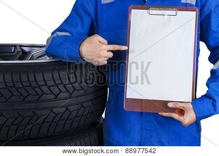 Mechanic Showing Empty Copyspace