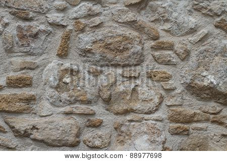 Sample Of Old Stonework Wall Close-up. Horizontal