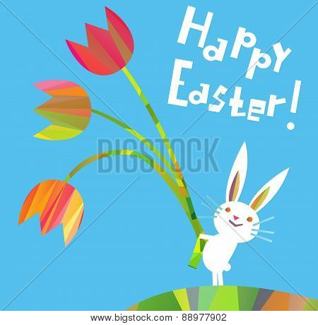 Easter decorative elements in a triangular style