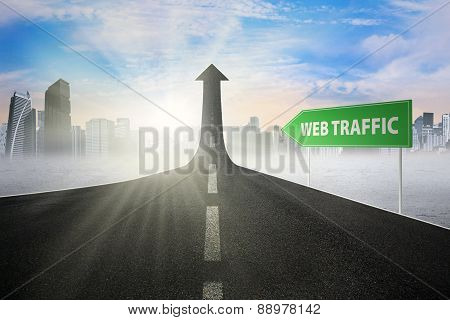 Signpost With Web Traffic Text