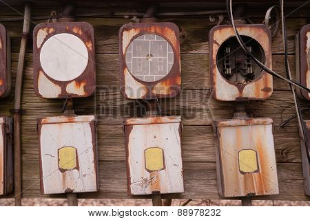 Old Home Fuse Box Panel Rusted Electrical Equipment