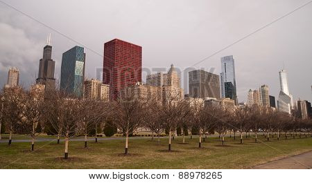 Storm Approaches Spring Time Scene Chicago Illinois City Skyline