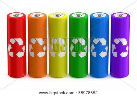 Row From Multicolored Batteries Recycle Size Aa
