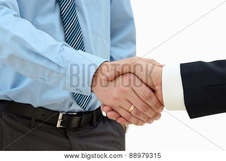 Close-up Image Of A Firm Handshake  Between Two Colleagues On A White Background