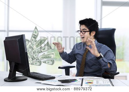Surpised Businessman Getting Money