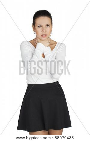 Attractive young woman suffers from sore throat. All on white background