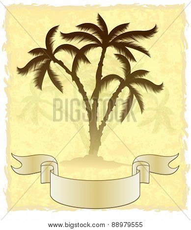 Decorative card with palm trees on aged background. Vector illustration for your design.
