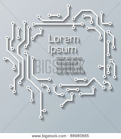 PCB-layout background. Cut off paper style vector illustration.