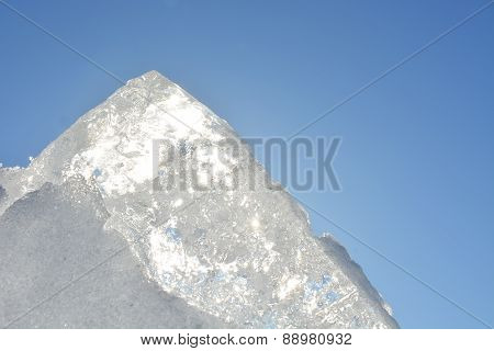 Ice With Sunny Sky As A Background