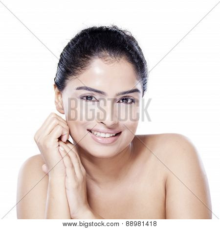 Woman With Perfect Skin On White Background