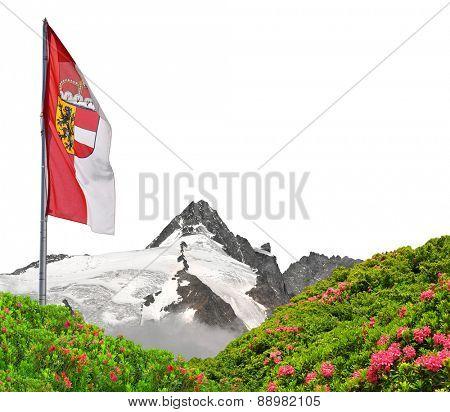 Grossglockner with flag of Salzburg on white background , National Park Hohe Tauern, Austria
