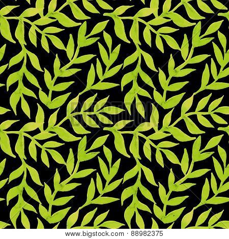 Spring Leaves Seamless Watercolor Pattern-model For Design Of Gift Packs, Patterns Fabric, Wallpaper