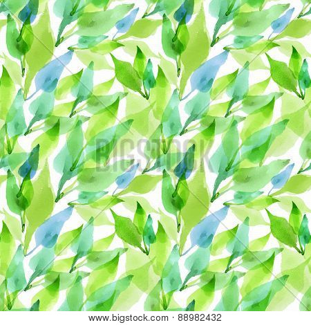 Seamless Vector Artistic Design Watercolor Leaves Pattern