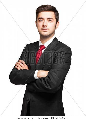 Smiling businessman isolated on white