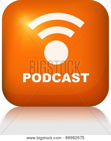 Glossy button podcast for web or other design. Vector illustration for your design.