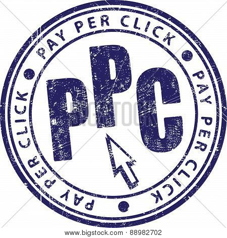 PPC (Pay Per Click) - rubber stamp in grunge style. Vector illustration for your design.