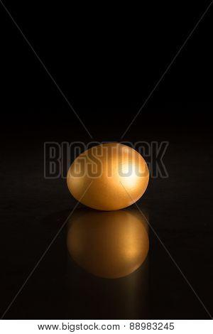 Golden Egg Against Black Background