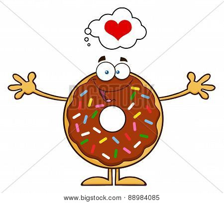 Chocolate Donut Character With Sprinkles Thinking Of Love And Wanting A Hug