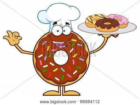 Chef Chocolate Donut Character Serving Donuts