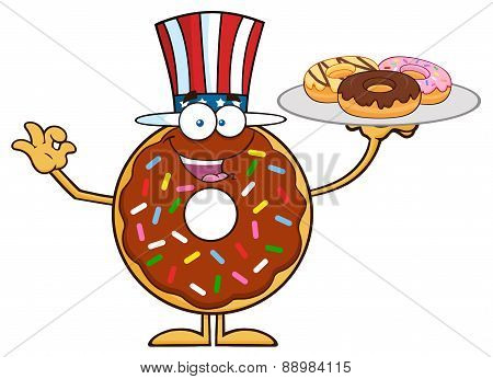 Smiling American Chocolate Donut Character Serving Donuts
