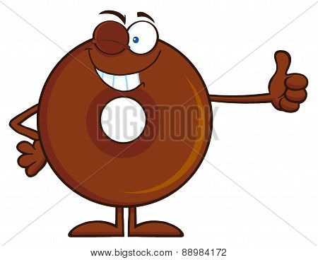 Winking Chocolate Donut Cartoon Character Giving A Thumb Up
