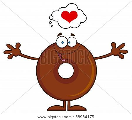 Chocolate Donut Cartoon Character Thinking Of Love And Wanting A Hug