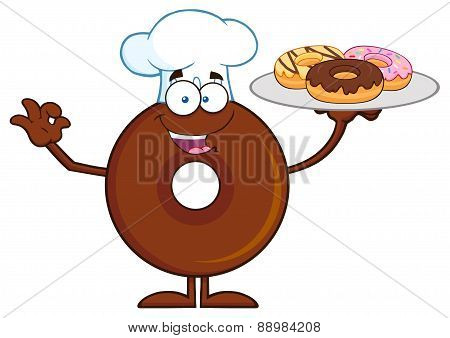 Chef Chocolate Donut Cartoon Character Serving Donuts
