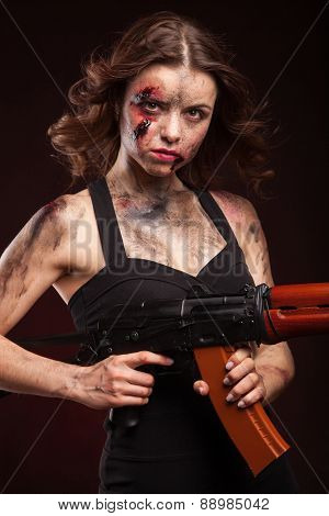 Sexy female killer with AK-74