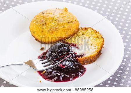 Seedless Blackberry Jam On Buttered Cornbread