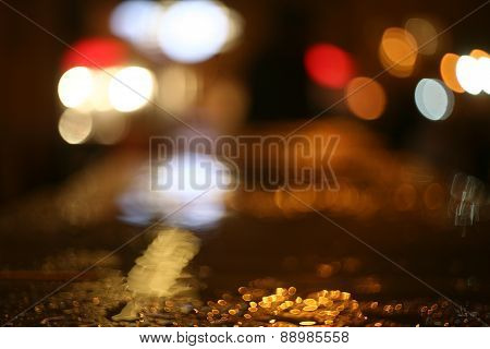 City Lights At Night With Rain