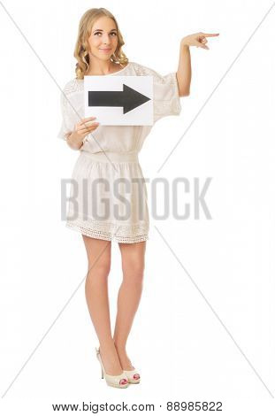Young girl with right arrow banner isolated