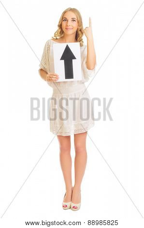 Young girl with up arrow banner isolated