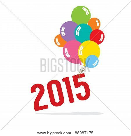 2015 With Balloon Bunch Celebrate Concept.