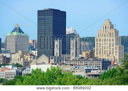 Montreal city skyline in the day with urban buildings
