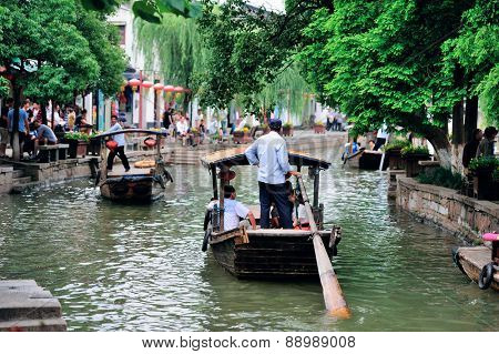 Shanghai Zhujiajiao town with boat and historic buildings