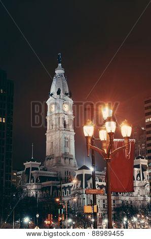 Philadelphia urban city street view at night.