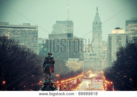 George Washington statue oand street in Philadelphia