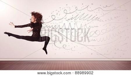 Pretty woman jumping with hand drawn lines and arrows come out concept