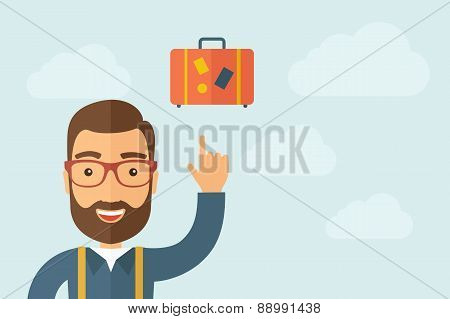 Man pointing the retro luggage icon