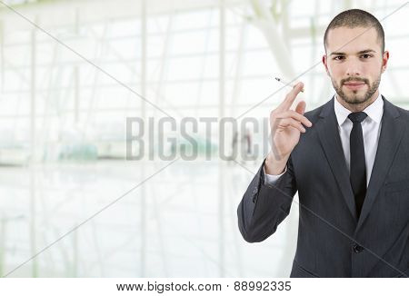 businessman smoking at the office