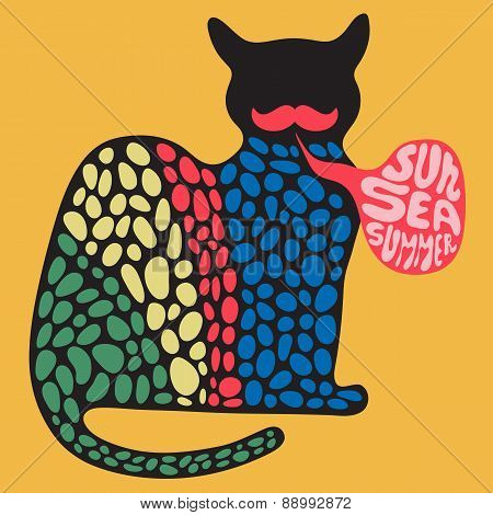 Colorful cat with sun sea summer banner.