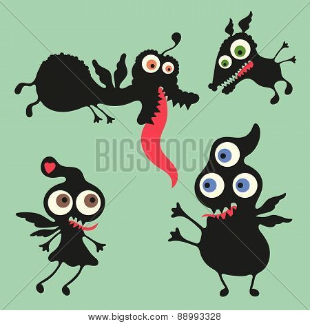 Happy monsters vector illustration Set